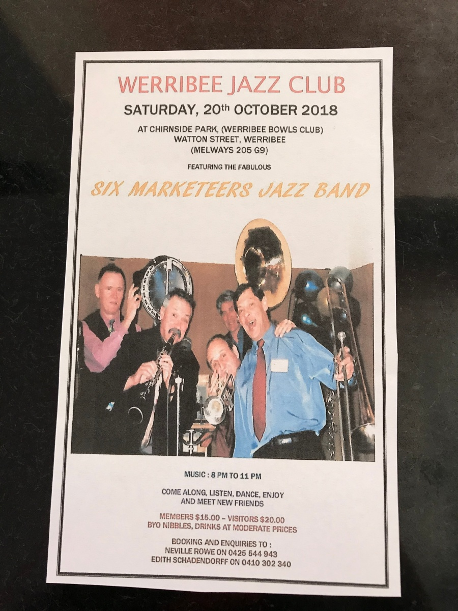 Six Marketeers Jazz Band flyer